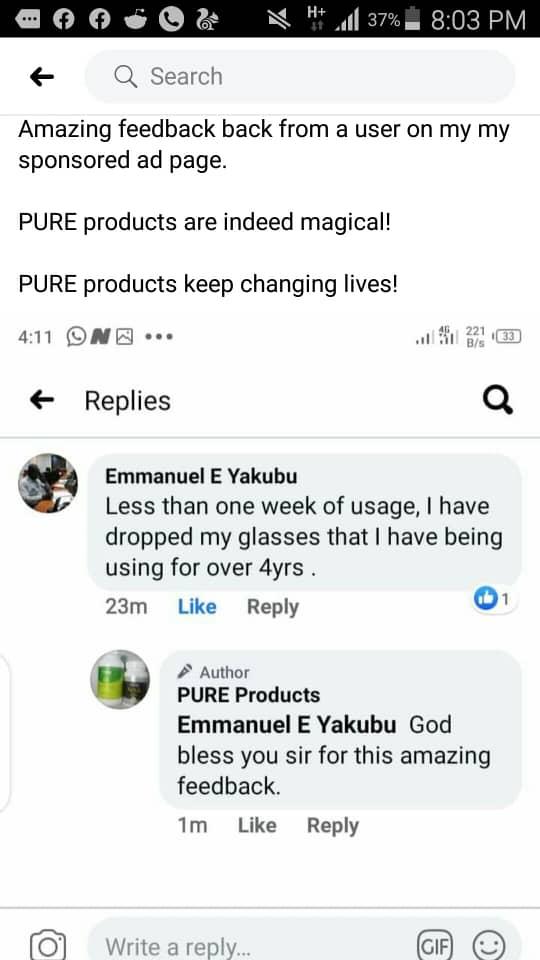 Purxcel eye testimony